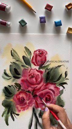 Watercolor Flowers Tutorial, Floral Watercolor, Simple Watercolor, Tattoo Watercolor, Watercolor Trees, Watercolor Animals, Watercolor Background, Watercolor Landscape, Watercolor Illustration