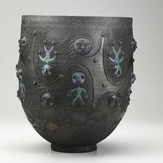 """SCHEIER; Large glazed earthenware vessel with figures, Green Valley, Arizona, 1984; Signed and dated; 13 1/4"""" x 11""""; Estimate- $2,000 - $3,000"""
