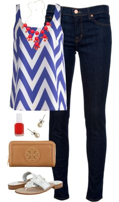 Football Game Last Night by classically-preppy featuring a blue shirt ❤ liked on PolyvoreBlue shirt / J Brand blue jeans, $270 / Jack Rogers white sandals / Tory Burch black zip around wallet / Blu Bijoux coral necklace / J.Crew pearl jewelry / Essie nail polish