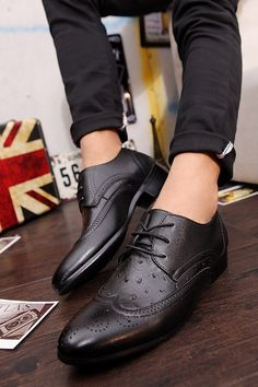 Mens #black business casual leather lace up #DressShoe hollow cut design, leather upper and lining.