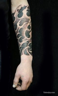Black Waves Tattoo and add shades of blue