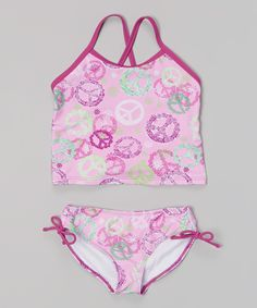 Look at this Purple Peace & Love Tankini - Infant, Toddler & Girls on #zulily today!