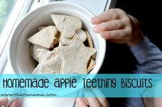 - Homemade Apple Teething Biscuits - The Ox Mama , organic baby food - Baby Teething Biscuits, Teething Cookies, Baby Cookies, Dog Biscuits, Homemade Baby Foods, Homemade Cookies, Baby Snacks, Toddler Snacks, Baby Food Containers