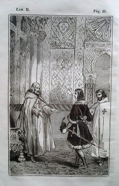 El Señor de Bembibre. Por Enrique Gil y Carrasco - (1844) Lámina II... El maestre que había salido al encuentro de don Alvaro, despues de haberle abrazado con un poco mas de emocion de la acostumbrada, le llevó á una especie de celda en que de ordinario estaba...