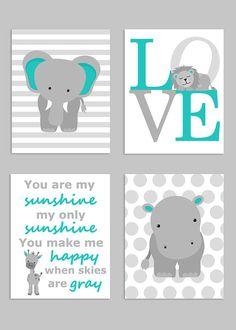 Zoo+Nursery+Decor+Elephant+Nursery+Zoo+Baby+Room+Hippo