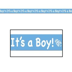 """Congratulations on your baby boy! Announce that you are having a little boy with this It's A Boy Party Tape. It is made of a light blue thin all-weather sticky back vinyl reading """"It's A Boy"""" in white"""