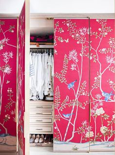 Fabric and wallpaper applied to flat closet doors is a wonderful way to bring colour and texture to a bedroom. When applying wallpaper you will need to lightly sand down melamine doors before gluing wallpaper onto the surface.