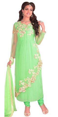 Glam Green Georgette Anarkali Suit.