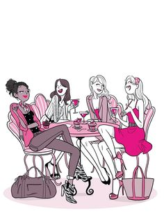 Four Sisters girls women friends partners family Illustration Amis, Friends Illustration, Illustrations, Marinette E Adrien, Four Sisters, Women Life, Girls Night Out, Cartoon Drawings, Fashion Sketches