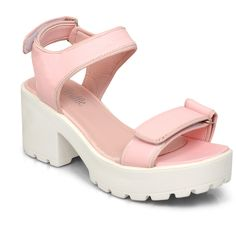 Light Pink Velcro Platform Sandal ($90) ❤ liked on Polyvore featuring shoes, sandals, pink, platform shoes, velcro shoes, light pink sandals, studded platform sandals and cut out sandals