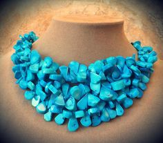 Triple Stacked Genuine Vivid Aqua Turquoise Blue NECKLACE OCEAN NATURAL JEWELRY