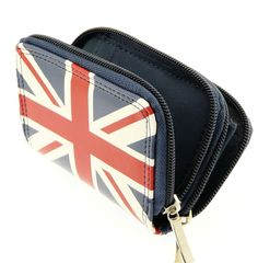 Ladies Union Jack Wallet Purse and Credit Card Key Holder With Double Zip Closure