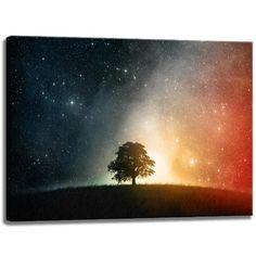 Baum im glitzerden Universum Motiv auf Leinwand im Format: 120x80 cm. Hochwertiger Kunstdruck als Wandbild. Billiger als ein Ölbild! ACHTUNG KEIN Poster oder Plakat!