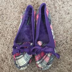 Sperry Top-Sider plaid sequin slippers Pink and purple plaid. Brand new! Sperry Top-Sider Shoes Slippers