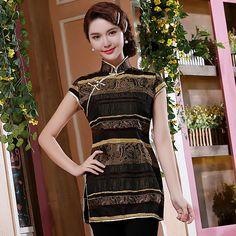 Charming Stripes Cap Sleeve Qipao Cheongsam Shirt - Yellow - Chinese Shirts & Blouses - Women