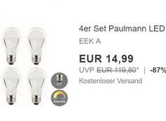 Paulmann: LED-Birnen dimmbar im Viererset für 14,99 Euro frei Haus https://www.discountfan.de/artikel/technik_und_haushalt/paulmann-led-birnen-dimmbar-im-viererset-fuer-14-99-euro-frei-haus.php Via Ebay ist jetzt ein Vierersetz LED-Birnen von Paulmann mit klassischem E27er-Sockel für 14,99 Euro frei Haus zu haben. In anderen Online-Shops kostet die Birne einzeln mindestens 20,74 Euro plus Versand. Paulmann: LED-Birnen dimmbar im Viererset für 14,99 Euro frei Haus (Bild: