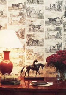Buy Lewis & Wood Gilpin Horses Wallpaper online Alexander Interiors Ltd Horse Wallpaper, Wood Wallpaper, Equestrian Decor, Equestrian Style, Equestrian Bedroom, Classic Wallpaper, Year Of The Horse, Happy Chinese New Year, Horse Saddles