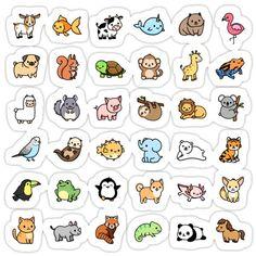 Cute Small Drawings, Mini Drawings, Cute Cartoon Drawings, Doodle Drawings, Cute Animal Drawings, Stickers Kawaii, Cool Stickers, Printable Stickers, Journal Stickers