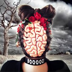 #peinado y #tocado de #flores naturales para #Halloween terroríficamente ideal!!!!