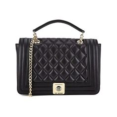 Love Moschino Women's Quilted Cross Body Bag - Black (€200) ❤ liked on Polyvore featuring bags, handbags, shoulder bags, quilted shoulder bag, crossbody purse, quilted crossbody, black quilted handbag e crossbody shoulder bags