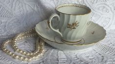 Early ROYAL WORCESTER FLUTED Coffee Tea Cup Saucer Set w/ GOLD TRIM HAND PAINTED #ArtDeco #royal #Worcester #fluted #tea #cup #coffee #saucer #gilt #gold