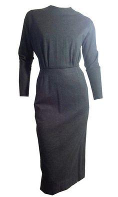 Sleek and Stylish Flecked Grey Wool Slim Fit Dress circa 1950s - Dorothea's Closet Vintage