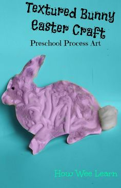 An Easter craft for kids that looks cute and is also a great process art activity! Create a textured Easter bunny using 2 materials you likely already have.