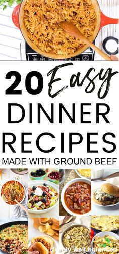 Delicious ground beef dinner recipes. These dinner recipes use ground beef for the main dish. All of them are family-friendly and kid approved. The best ground beef recipes for simple weeknight meals. #dinnerideas #groundbeef #dinnerrecipes Best Ground Beef Recipes, Ground Beef Recipes For Dinner, Dinner With Ground Beef, Easy Dinner Recipes, Easy Meals, Weeknight Meals, Dinner Ideas, One Dish Dinners, Cheap Dinners