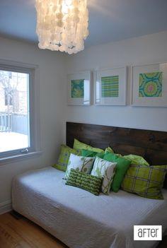 guest bedroom, turning full bed sideways, diy headboard