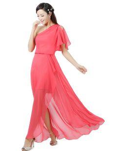 Amazon.com: Ever Pretty Sexy Red One Shoulder Split Ruffles Long Evening Dress 09898: Clothing