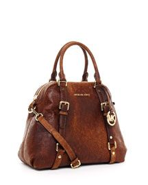 Michael Kors Large Bedford Bowling Satchel, Mocha Antique. @MK Rodgers, check out the personalized bling!  $428