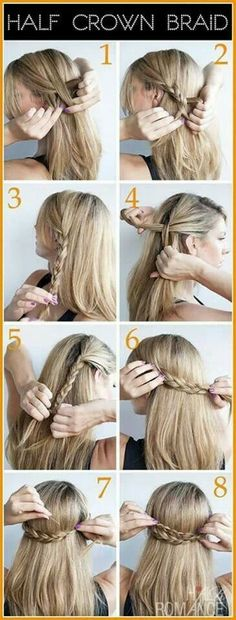 Hair: Half a crown braid #step #by #step #cute #hair