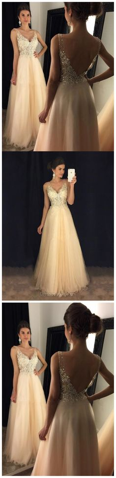 Sexy Backless Lace Beaded Evening Prom Dresses, Long Sexy Party Prom Dress, Custom Long Prom Dresses, Cheap Formal Prom Dresses, 17131