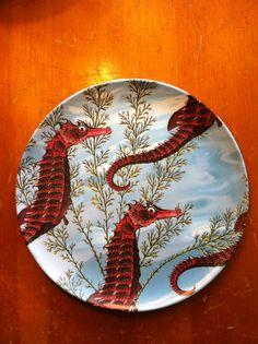 Sea Horses Melamine Dinner Plate / Outdoor by InquisitiveDesigns