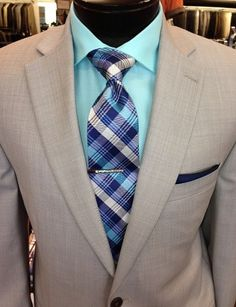 Light grey sharkskin suits are the perfect fit for attending a summer #wedding or as a sharp ensemble in the office