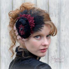 Victorian Gothic Feather Headpiece by Jaya Lee Designs
