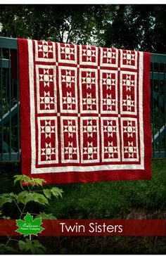 Twin Sisters is a stunning quilt made out of rich reds, and crisp white fabrics. Beautiful traditional quilt pattern instructions to make a double or queen size