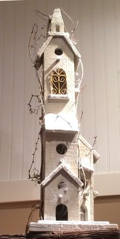 Tall White Birdhouse.