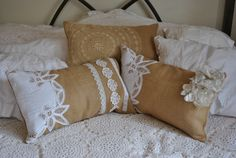Burlap and Lace accent bed pillows