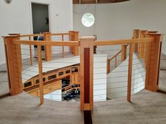 Honorable Mention - Beautiful custom wood railing on circular staircase with CableRail infill - Location: Smith River CA . Wood Railing, Cable Railing, Stair Railing, Terrace Design, Custom Wood, Photo Contest, Photo Galleries, The Originals, Gallery