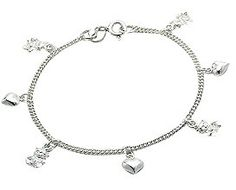 Baby Bracelets: Sterling Silver Hearts and Bears Charm Bracelets - Baby Jewelry & Childrens Jewelry. Gifts for New Mothers. $48.51
