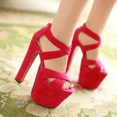 (31.39$)  Watch here  - 17.5 Cm Ultra-high Heels Red Soles Platform Shoes High Heels Sexy Party Dress Up Prom Gladiator Sandals Faux Suede Shoes Women