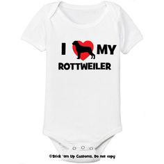 I Love My Rottweiler Dog Infant Bodysuit One-Piece  Toddler T-shirt Heart Cute Welcome Baby Shower Gift Idea Rott Rottie Puppy via Etsy