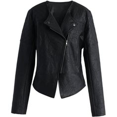 Chicwish Moto Chic Faux Leather Jacket (£42) ❤ liked on Polyvore featuring outerwear, jackets, black, print jacket, black fake leather jacket, black zip jacket, black zipper jacket and asymmetrical jacket