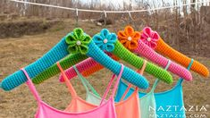 DIY Tutorial - Learn How to Crochet Clothes Hangers - Crocheted Cover fo...