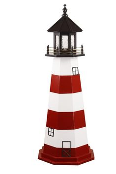 $681 for 6' white & navy with revolving light.Amish Assateague Wooden Lighthouse Model
