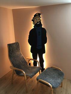 Enlighten Captain Haddock DIY infront of Yngve Ekströms Classic lamino armchair. Classic Swedish design meets DIY kitsch...