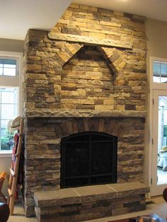 stone fireplace | Cultured Stone Fireplace with Sandstone Hearth and Mantel
