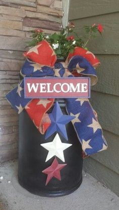 milk can for of july find this pin and more on holiday decorations patriotic