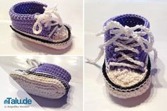 Crochet baby chucks - Instructions for trendy baby shoes - Talu.de, In this guide, we will show you how to crochet such baby chucks yourself. They are soft like crochet socks, but look like real sneakers. Baby Knitting Patterns, Crochet Patterns, Crochet Socks, Crochet Baby Shoes, Patterned Socks, Christmas Crafts For Kids, Christmas Tree, Baby Crafts, Baby Booties